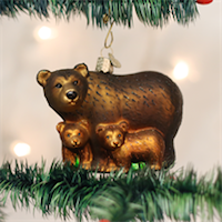 Bear with Cubs Old World Ornament