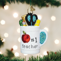 Best Teacher Mug Old World Ornament