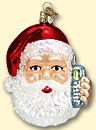 Cell Phone Santa Old World Ornament